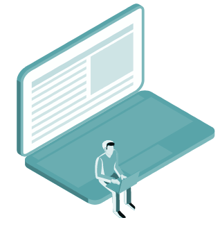 Ilustração de um homem sentado num laptop gigante com um laptop no colo