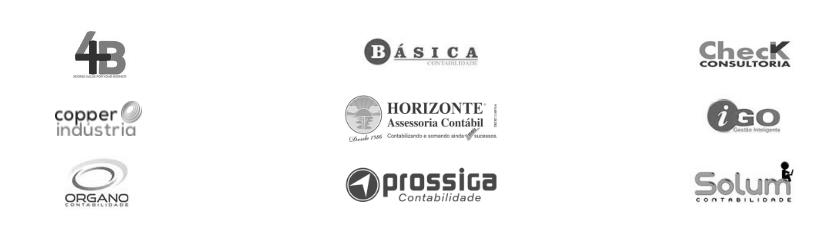 Logotipos dos clientes em preto e branco